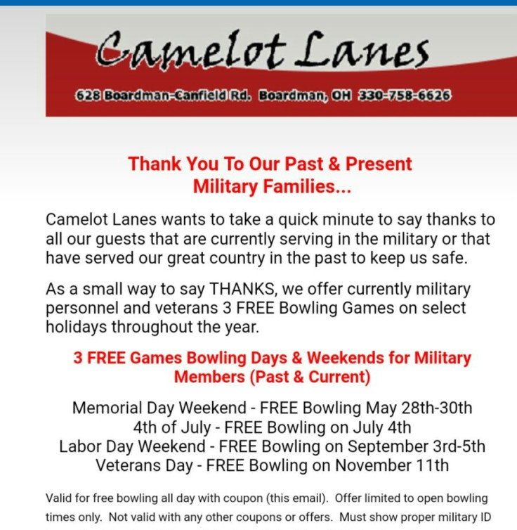 Hitting the highway with hannah page 3 3 free bowling games on veterans day for military personnel and veterans must show this coupon and military id fandeluxe Choice Image